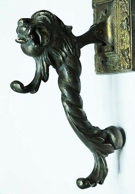 Rare old bronze monster head myth animal door knocker 8' / 20cm 3