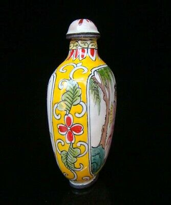 Collection 100% Handmade Painting Brass Cloisonne Snuff Bottles People 021 6