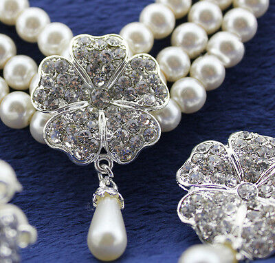 338dd303f38cb LUXURY BRIDAL QUEEN Floral White Pearls Necklace Earrings Bracelet Jewelry  Set