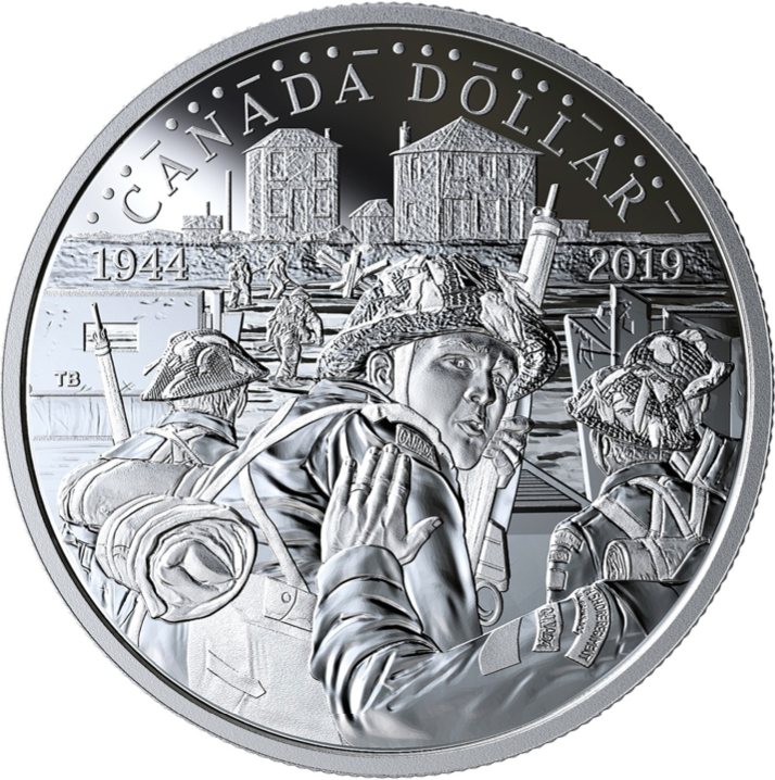 1944-2019 D-Day 75th Anniversary Proof Pure Silver Dollar $1 Canada, Juno Beach