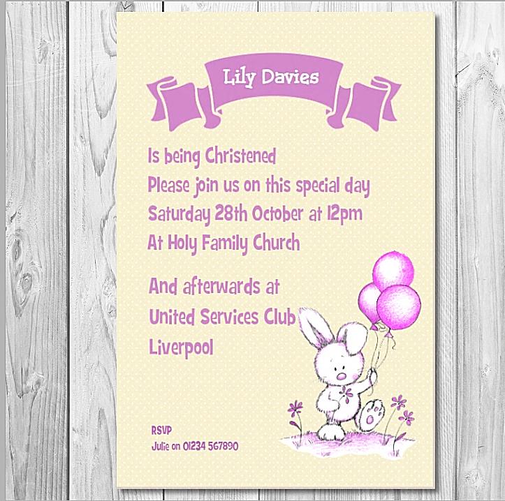 10 Personalised Christening Invitations Card  Girl Christening Invite Cards