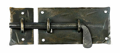 HAND FORGED SLIDE BOLT DOOR LATCH Cabinet Gate Shed Antique Wrought Iron Lock 6