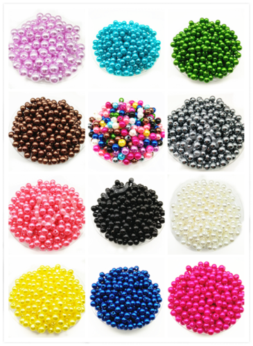 4mm/6mm/8mm/10mm Acrylic Round Pearl DIY Spacer Loose Beads Wholesale 2