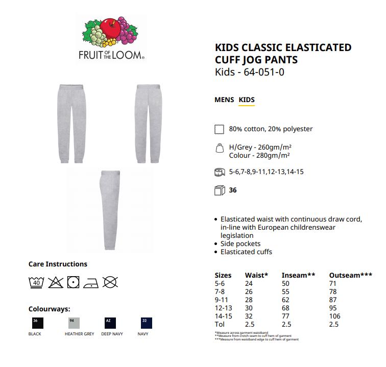 Fruit Of The Loom Children's Classic Elasticated Cuff Jog Pants Casual Jogging 2