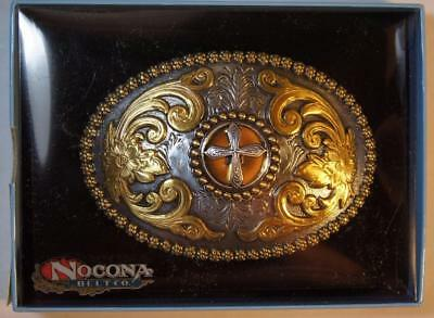 Nocona CROSS  Oval Belt Buckle Gold and Silver Tone M & F Western  3756645 4