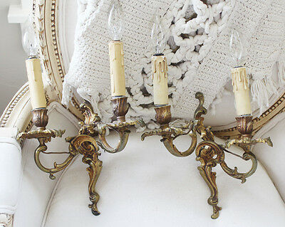 Pair French Bronze Wall Sconces Gorgeous Patina Antique 4