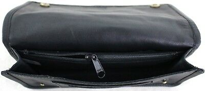 Quality Full Grain  Vintage Leather Tobacco Pouch. Style:12033. BLACK/BROWN 12