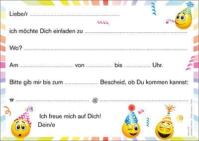 Lustige Smiley-Einladungskarten Kindergeburtstag, Geburtstagseinladungen Kinder 2
