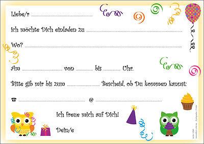 8 lustige eulen einladungskarten kindergeburtstag