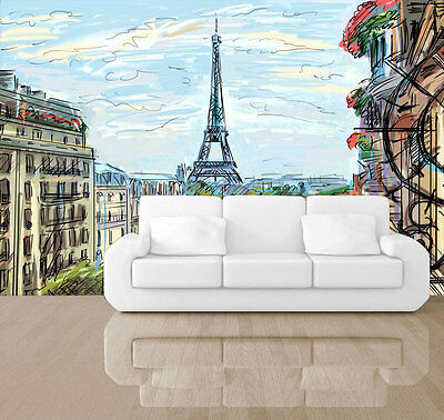 EIFFEL TOWER PARIS Sky house Full Wall Mural Photo Wallpaper Print
