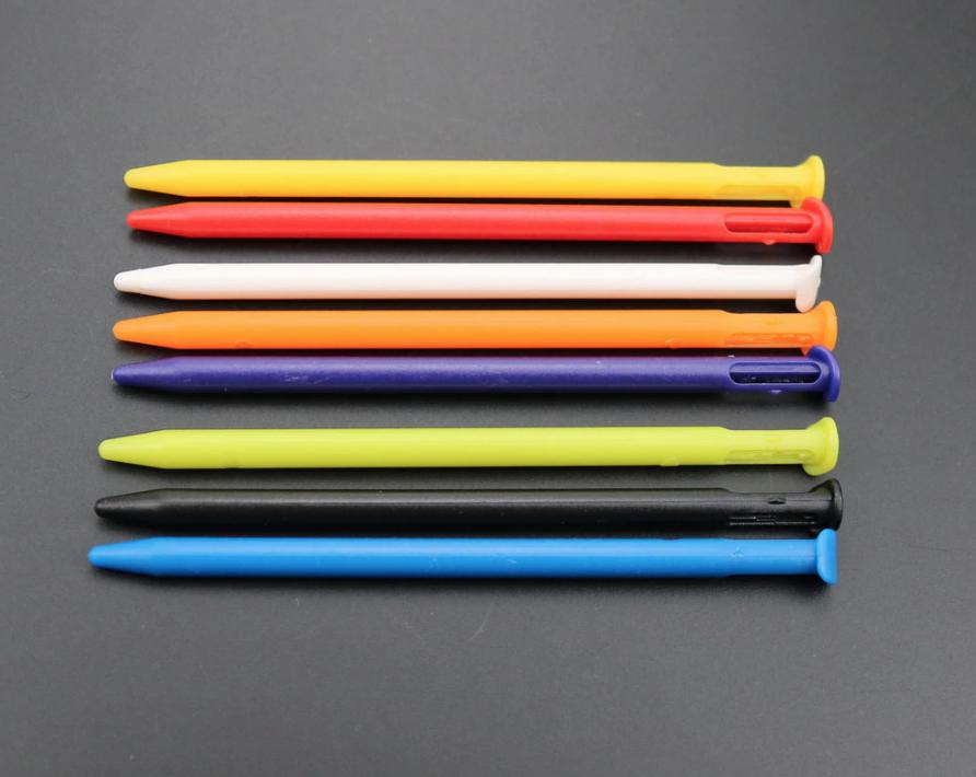 Stylus for Nintendo New 3DS - Multi Colour Rainbow Set Black White - 8 Colours 2