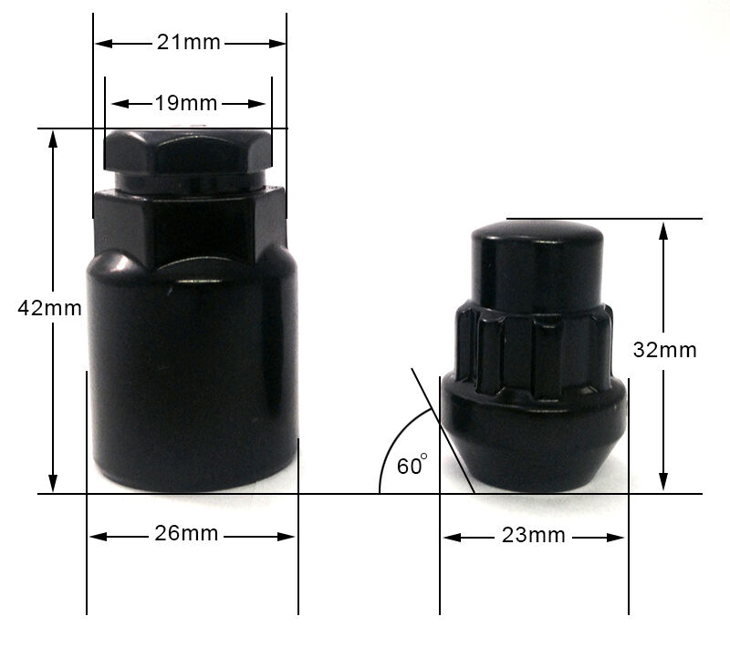 Set di 4 x M14 x 1.5,21mm Esagonale,Conico Auto Dadi Delle Ruote Inserti Bulloni