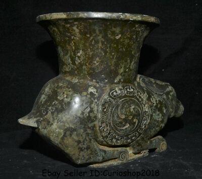 "12.2"" Antique Old Chinese Bronze Ware Dynasty Rabbit Zun Vase drinking vessel 5"