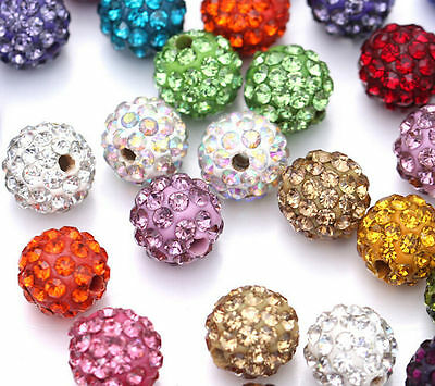 20 Quality Czech Crystal Rhinestones Pave Clay Round Disco Ball Spacer Bead 10mm 5