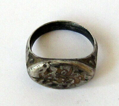 Fantastic Post Medieval Silver Ring Seal Engraving On The Side  # 750 8
