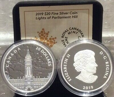 2019 Northern Lights Parliament Hill Glow-Dark $20 1OZ Silver Proof Coin Canada 3