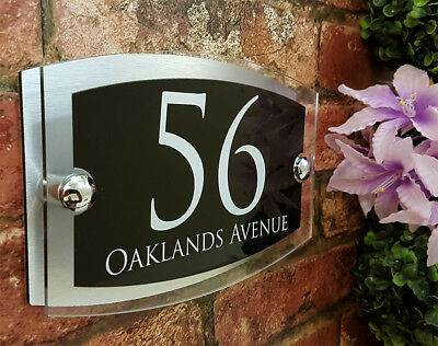 Contemporary House Signs Plaques Door Numbers 1 - 999 Personalised Name Plate 7