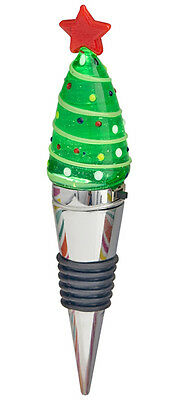 100% Genuine! Jolly Light-Up Glass Wine Bottle Stopper Christmas Tree! 3