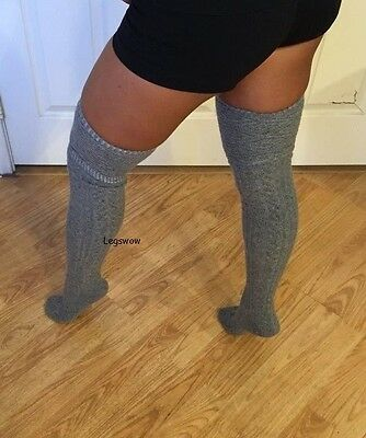 90cb86b4a74 ... Womens Cable Knit Over The Knee Thigh High Socks OTK Green School Girl  Thick Emo 5