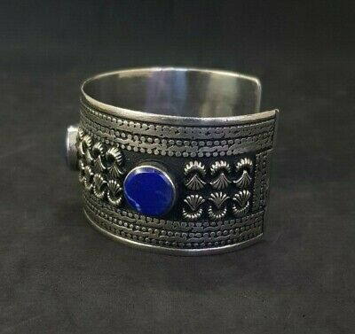 Wonderful Silver plated Afgani Adjustable Beautiful Bangle With Lapis Stone #W12 5