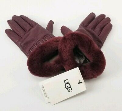 $110 UGG Leather Logo Gloves Size Small Real Fur Cuffs Port Red New 2