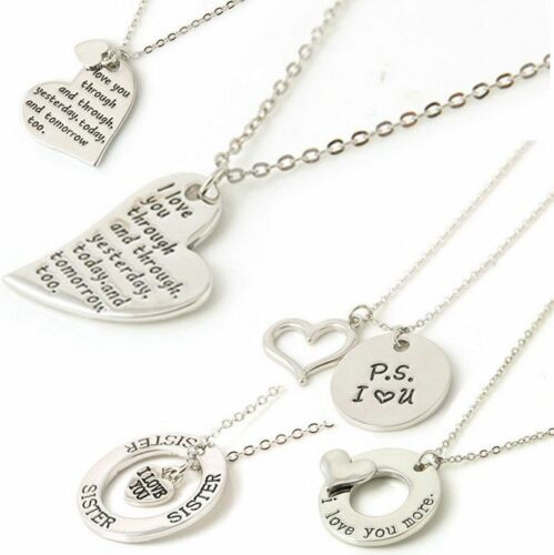 Family couple Heart Love Necklace gold Silver Pendant Women Charm Chain Jewelry 4