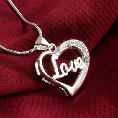 Family couple Heart Love Necklace gold Silver Pendant Women Charm Chain Jewelry 6