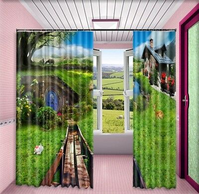 3D Pastoral Hut 62 Blockout Photo Curtain Printing Drapes Fabric Window CA Carly