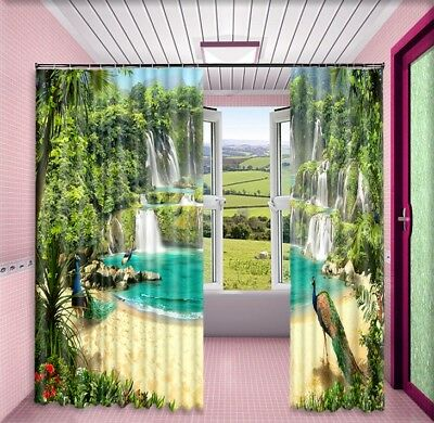 3D Peacock Waterfall 63 Blockout Photo Curtain Printing Drapes Fabric Window CA