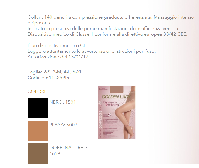 Collant Golden Lady Benessere E Bellezza 140 Den A Compressione Graduata 2