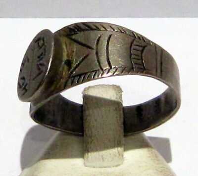 Fantastic Post Medieval Silver Ring With Engraving On The Top # 699 4
