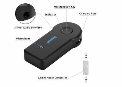 Wireless Bluetooth 3.5mm AUX Audio Stereo Music Home Car Receiver Adapter New 3