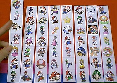 56 DIFFERENT SQUARE SUPER MARIO STICKERS LOT 11 CHOICES PEACH YOSHI TOAD BOWSER