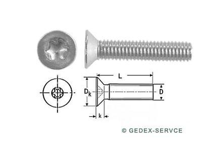 50 Stück  Senkkopf Schrauben TORX DIN 965 M2,5 x 4 V2A  M2,5x4
