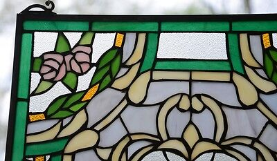 "Rose Flower Tiffany Style stained glass window panel,  20"" x 34"" 4"