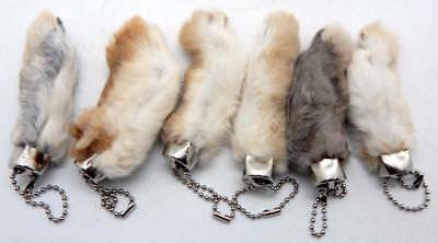 6 Natural Color Lucky RABBITS FOOT (Oryctolagus Cuniculus) Keychains New 2
