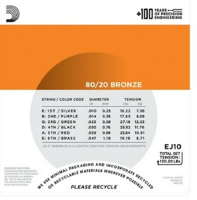 D'Addario EJ10 80/20 Bronze Acoustic Guitar Strings Extra Light 10-47