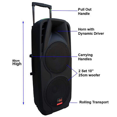 "Dual 10"" inch 600W Mobile PA Sound System Battery BT/2 UHF Mics Portable Speaker 2"