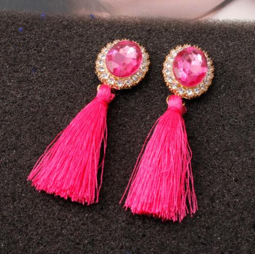 Fashion Women Ethnic Long Tassel Earrings Geometric Crystal Drop Dangle Earrings 6
