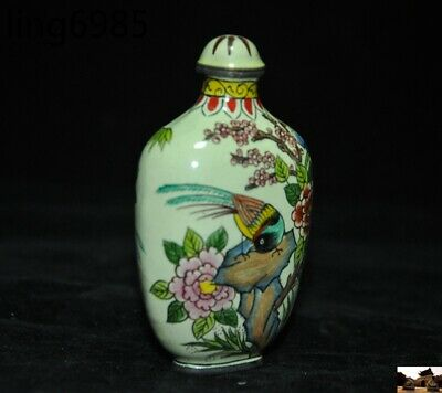 marked old chinese pure copper Cloisonne Magpie Bird Peony Pattern Snuff bottle 3