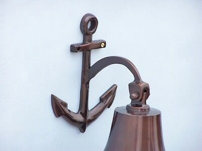 """Copper Finish Solid Aluminum Ship Bell 6.5"""" w/ Anchor Bracket Hanging Wall Decor 3"""