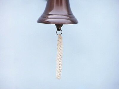 """Copper Finish Solid Aluminum Ship Bell 6.5"""" w/ Anchor Bracket Hanging Wall Decor 4"""