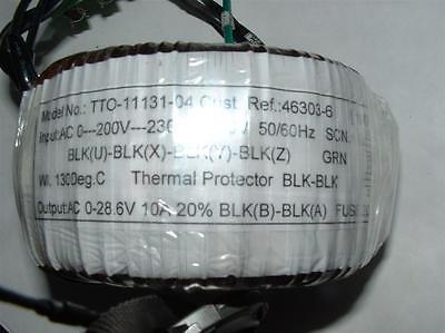 Toroidal power transformer 0-200-230-270v  0-28.6V 10A