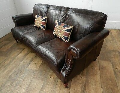 PAIR of VICTORIAN STYLE CIGAR BROWN STUD LEATHER CHESTERFIELD 3 SEATER SOFAS 11