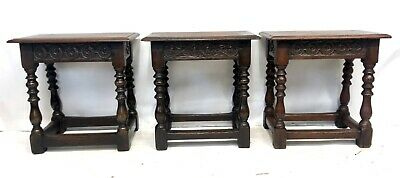 # Set 3 Antique Victorian Carved Oak Joint Stools Occasional Tables Lamp Stands 5