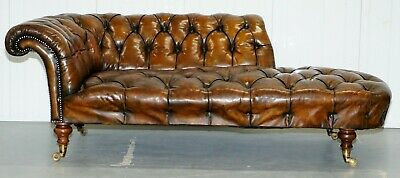 Howard & Son's Restored Brown Leather Chesterfield Chesterbed Walnut Framed 2