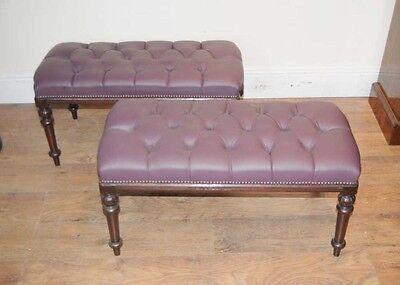 Pair Regency Mahogany Piano Stools Bench Seats 6
