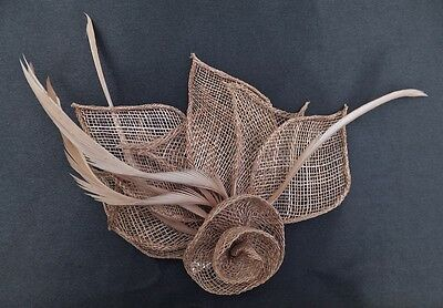 Hessian Net Rose & Feather Fascinator On A Forked Clip And Brooch Pin 3