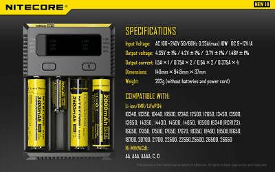 【】Nitecore NEW I4 Smart Battery Charger Lithium NiMh 18650 26650 22650 2