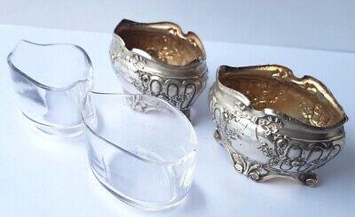 2 Salzgefäße con Cristal de Vidrio 2 Cuchara para Sal Plateado Francia Um 1900 6